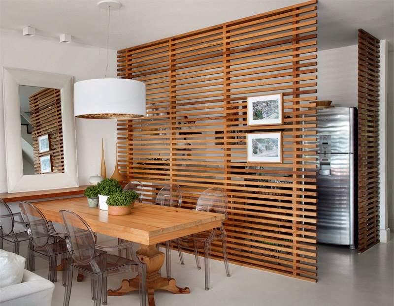 деревянные рейки на кухне