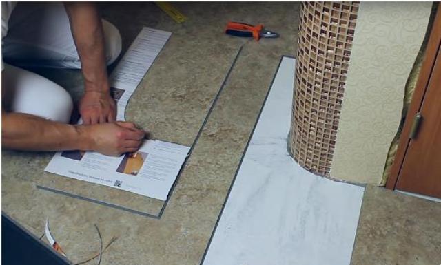 резка гибкого ламината с помощью картонного шаблона