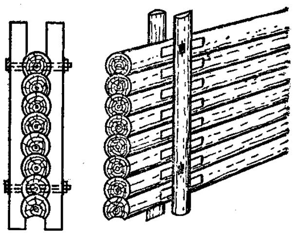 выравнивание деревянных стен с помощью опорных брусьев