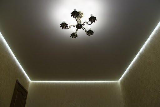 вид освещения натяжного потолка - парящий потолок