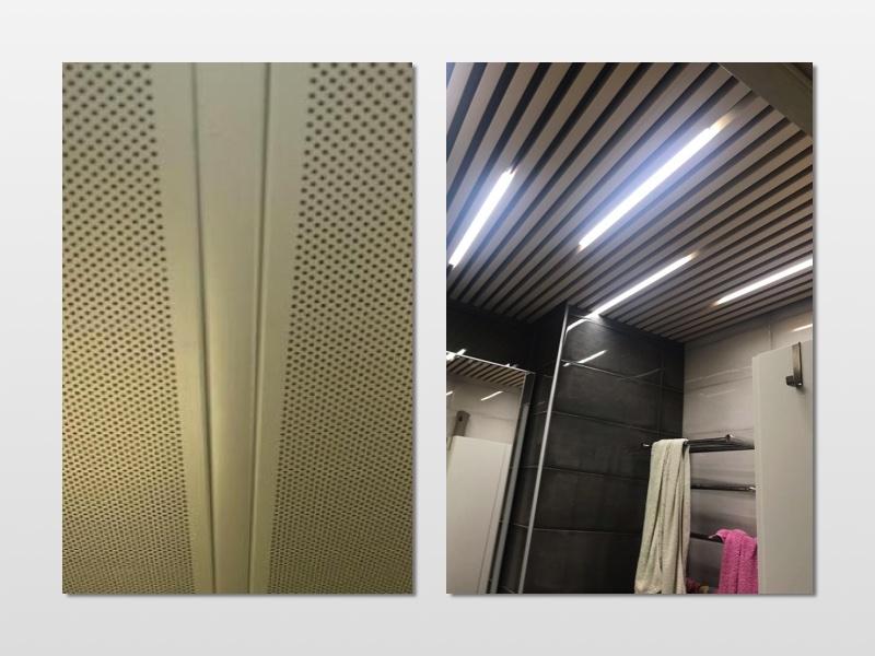 металлический реечный потолок для санузла